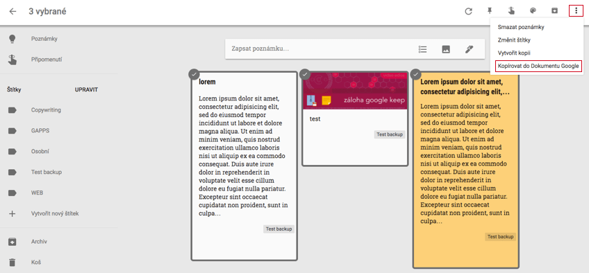 Google Keep, uložení Google dokument