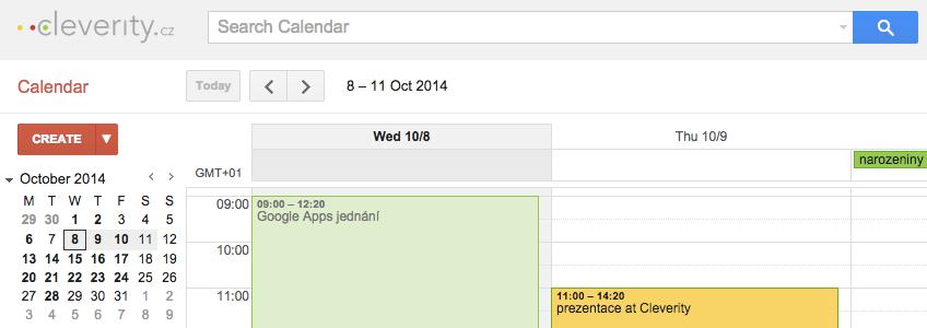 Google kalendář, kalendář Google