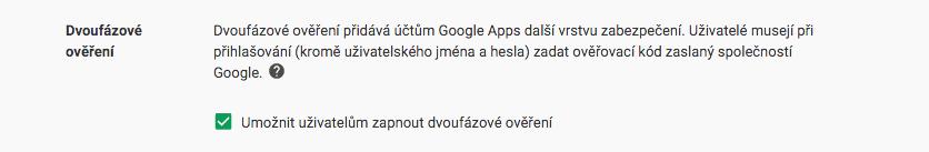 dvoufazové ověření pro Google Apps for Work