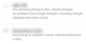 Google Apps, kontrola aplikací, přístup k účtu