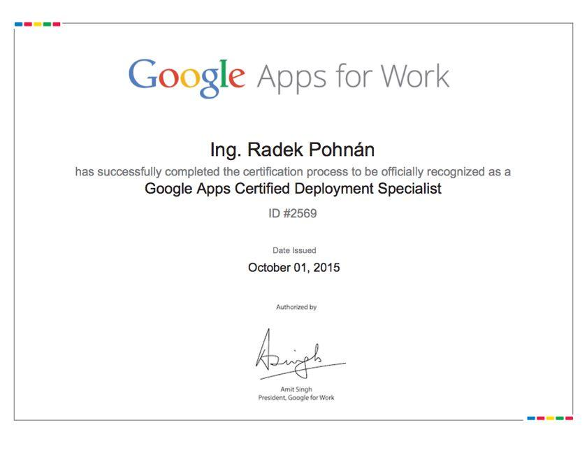 Google deployment specialist, certifikační zkouška