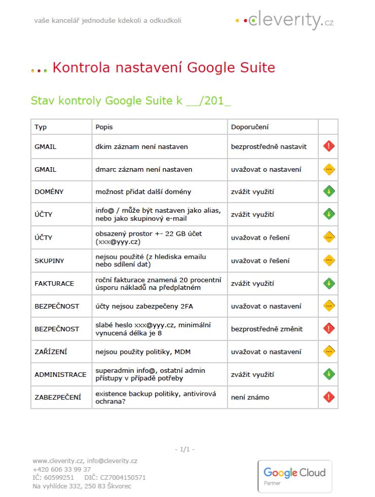Kontrola stavu G Suite aplikací, Google aplikace nastavení,