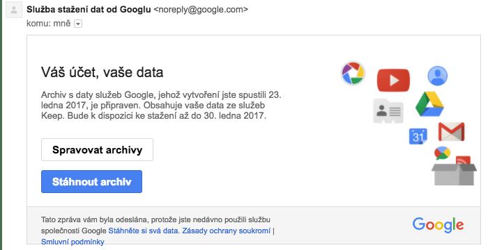Stažení dat, záloha Google Keep