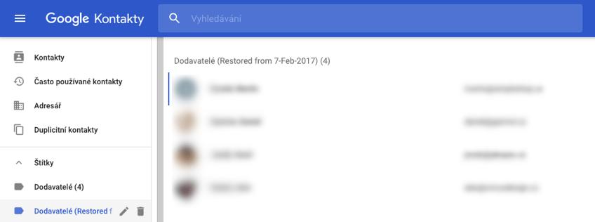 Obnova, záloha google kontakty
