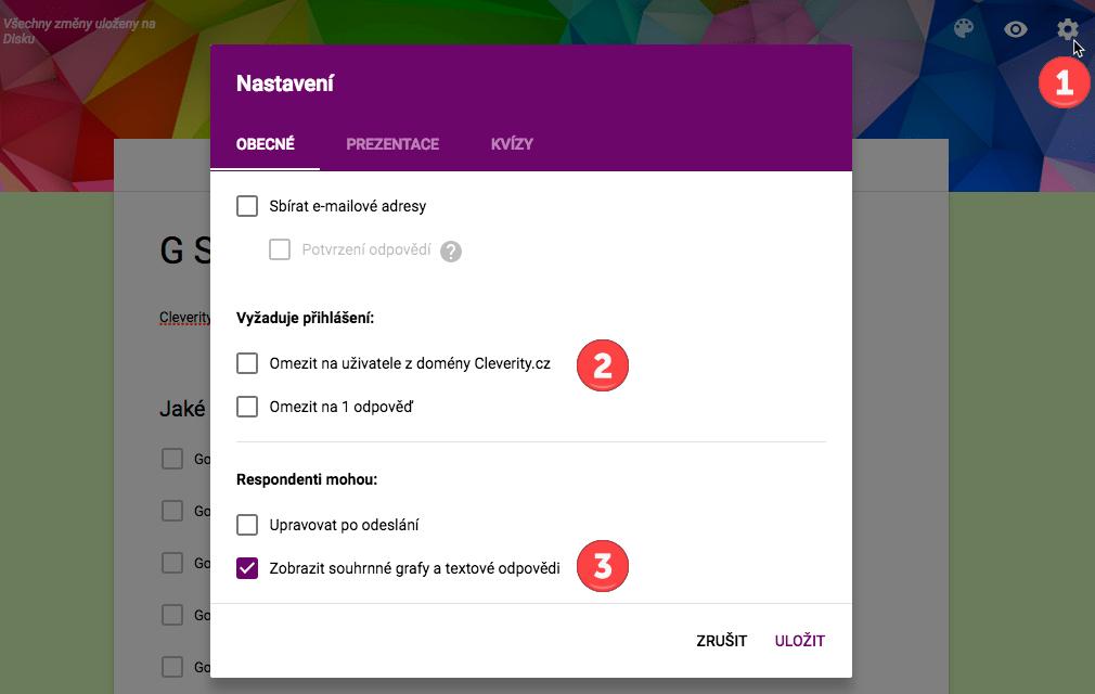 Google formulář, Google formuláře, nastavení formuláře