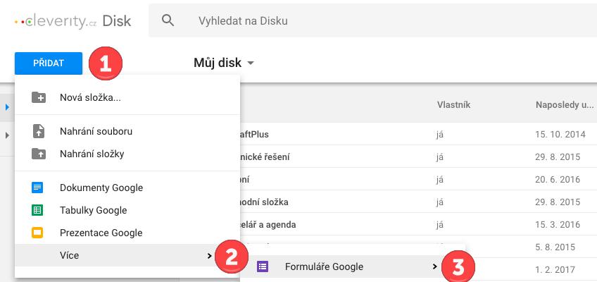 Google formulář, Google formuláře jak vytvoříme formulář