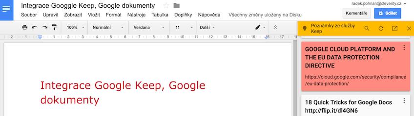 Google dokumenty a propojení s Google Keep, Google docs