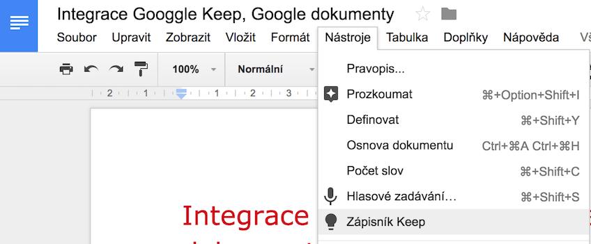 Google dokumenty a propojení s Google Keep, integrace poznámek a Google Docs
