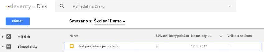Google Team Drive, týmový disk Google, vymazání, koš