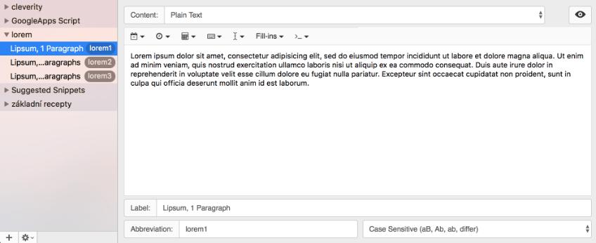 Efektivita, šablony, psaní textu, textexpander ukázka rozhraní