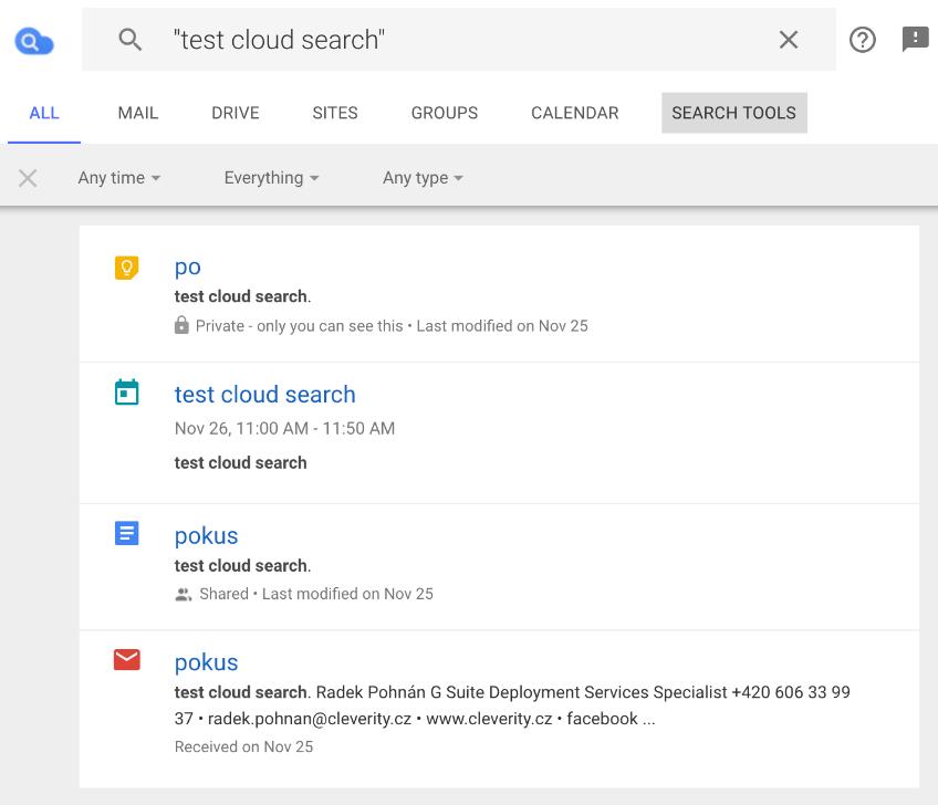 Příklady vyhledání pomocí Google Cloud Search