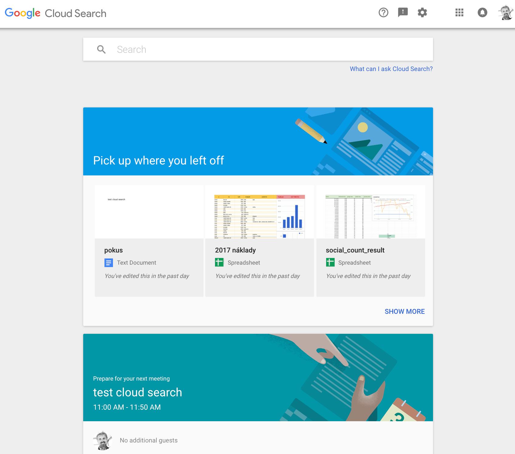 Ukázka rozhraní Google Cloud search