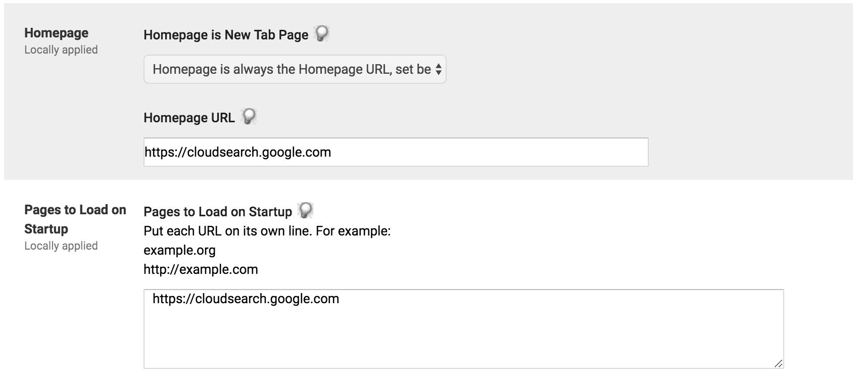 Nastavení domovské a výchozí stránky služby Google Cloud Search